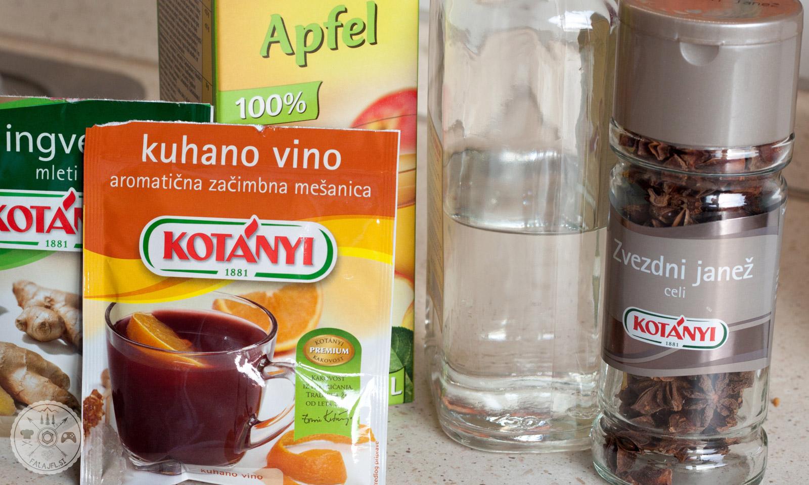 kuhan gin, zvezdni janež, jabolčni sok