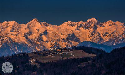 Limbarska gora, zasnežene Kamniške Alpe
