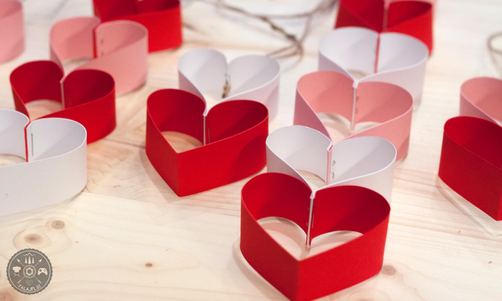Valentinovo, girlanda, srca, papir, ustvarjanje, ustvarjalnica