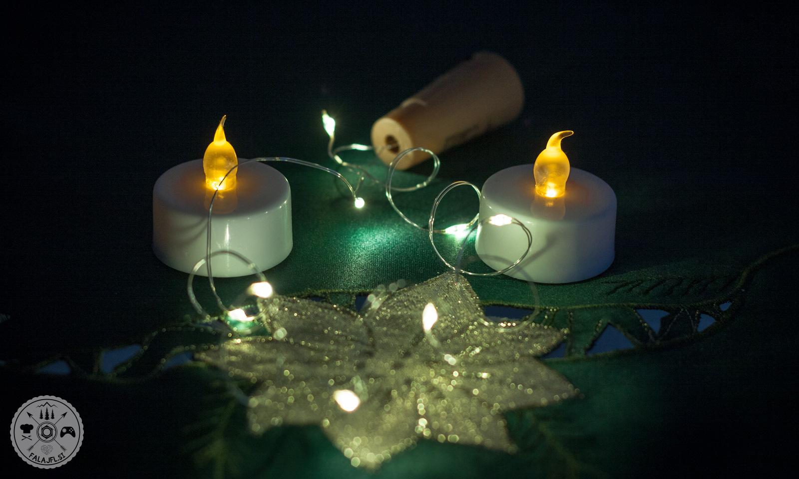 svečki in trak za LED steklenice